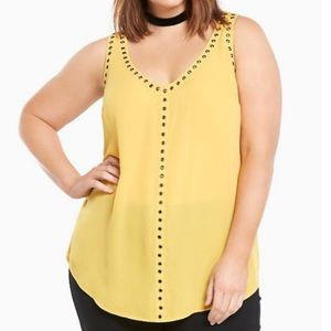 Torrid Yellow Grommet V-Neck Tank Top